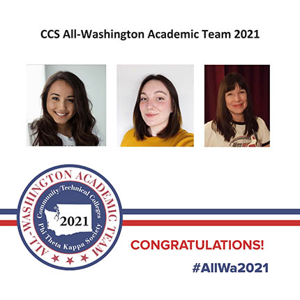 Students Elisa Vigil, Sarah Horn and Theresa Moore-Wheeler in a poster frame from the All Washington Team Academy