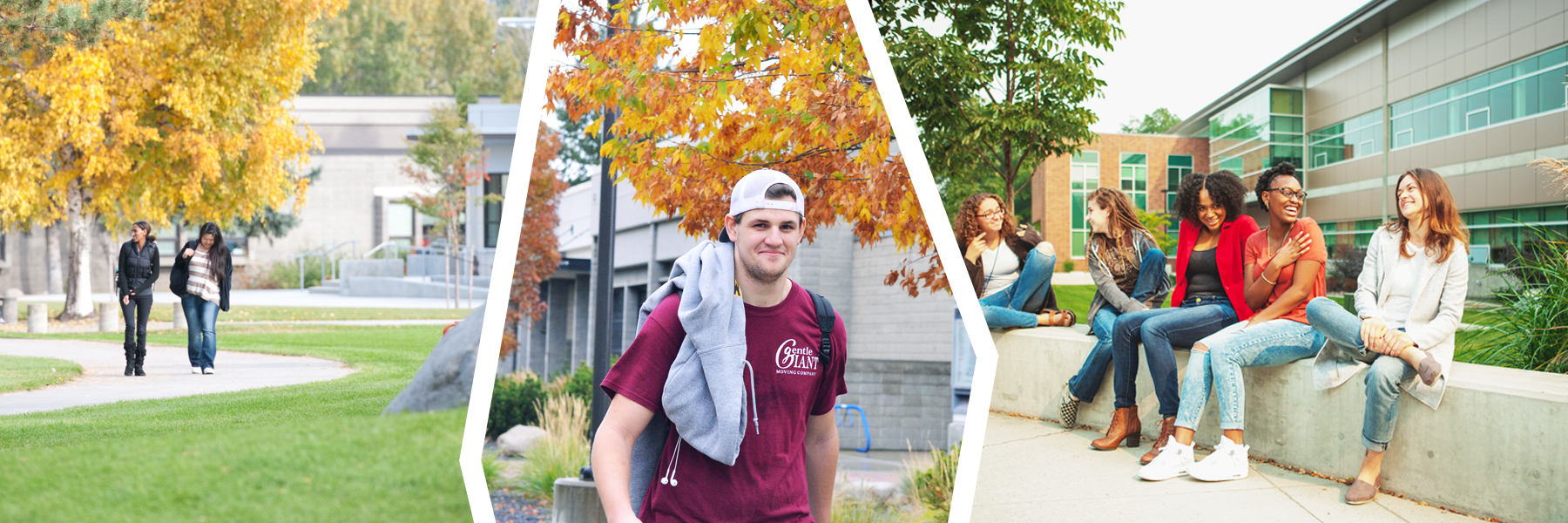 picture collage of SCC and SFCC students walking or sitting outside on campus