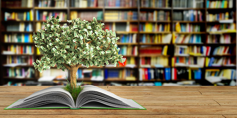 Money tree in a library