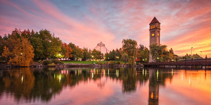Sunset in Spokane behind the clock tower at River Front Park