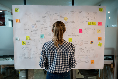 A woman wearing a black and white checkered blouse is staring at a whiteboard, her back is to the camera. One the white board is a lot of text and stick notes. It